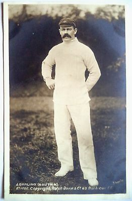 JOE DARLING AUSTRALIA 1905 RALPH DUNN REAL PHOTO CRICKET POSTCARD