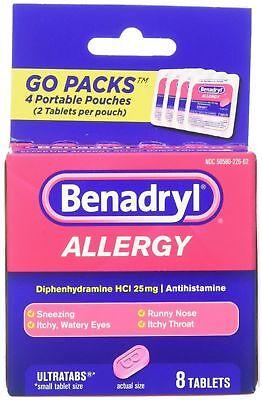Benadryl Allergy Ultratabs Tablets, Go Packs 8 ea (Benadryl Allergy Ultratabs)