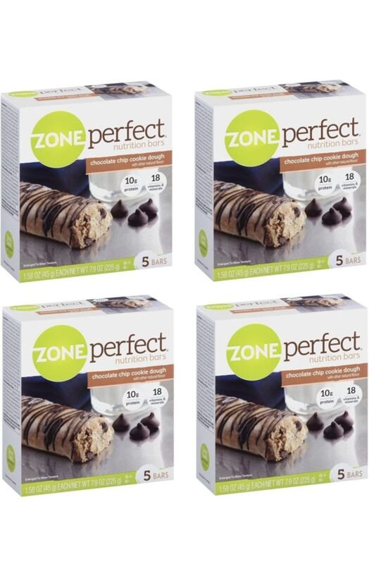 Zone Perfect chocolate chip cookie dough bars. Lot of 4
