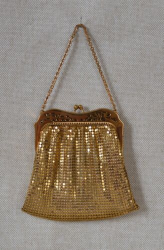 Vintage Whiting and Davis Gold Mesh Hand Bag Purse (1950s)