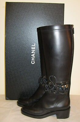 CHANEL NEW Black Leather Knee High Riding Boots Size 37,5  US 7,5