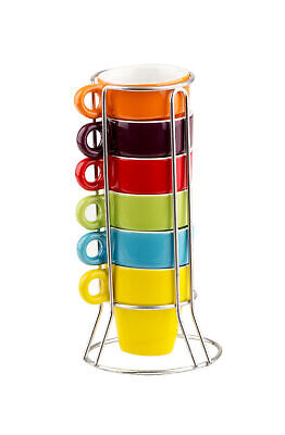 Keramik Espresso Tassen Set 6 Kaffee Mokka Tasse regenbogenfarbig mit Ständer