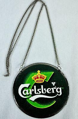 """Carlsberg Bier, Emaile Zapfhahnschild """"Grün Krone gelb"""" mit Kette"""