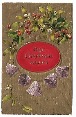 Vtg Post Card Best Christmas Wishes Bells Holly