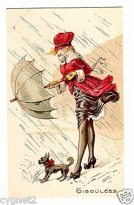"""POSTCARD FRENCH WOMAN WITH DOG IN RAIN """"GIBOULEES (SHOWERS)"""""""