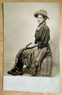 RPPC Schwartz Studio Photo Of Cowgirl. Fringe Skirt, Pistol & Lone Star Gloves