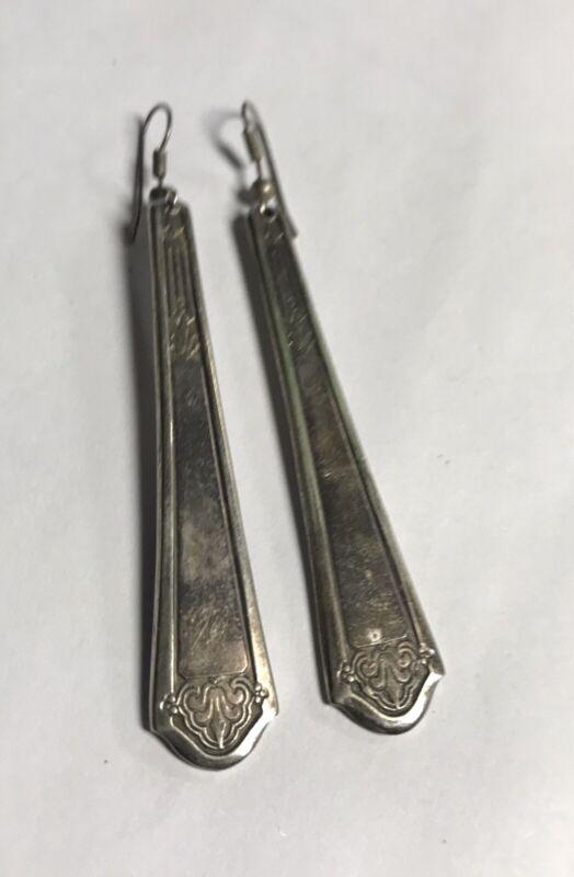 "Antique Vintage Dangling 3.5"" Spoon Earrings Silverware Jewelry"