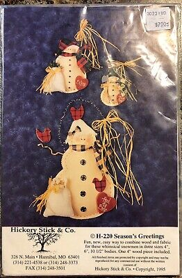 Craft Pattern H-220 Seasons Greetings Snowmen Hickory Stick & Co 1995 1 Wood Man (Wood Snowman Patterns)