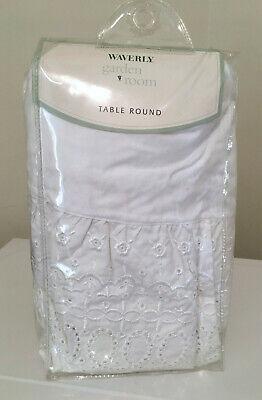 "Waverly Garden Room White 70"" Table Round Eyelet Lace Ruffle Tablecloth Shabby"