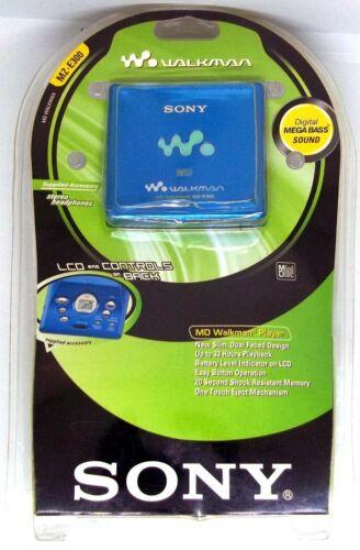 NEW SEALED SONY MD WALKMAN MZ-E300 BLUE PLAYER WITH HEADPHONES