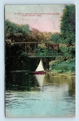 Monon, IN - RARE 1911 POSTCARD - BUFFALO BRIDGE & SAILBOAT on TIPPECANOE RIVER Z