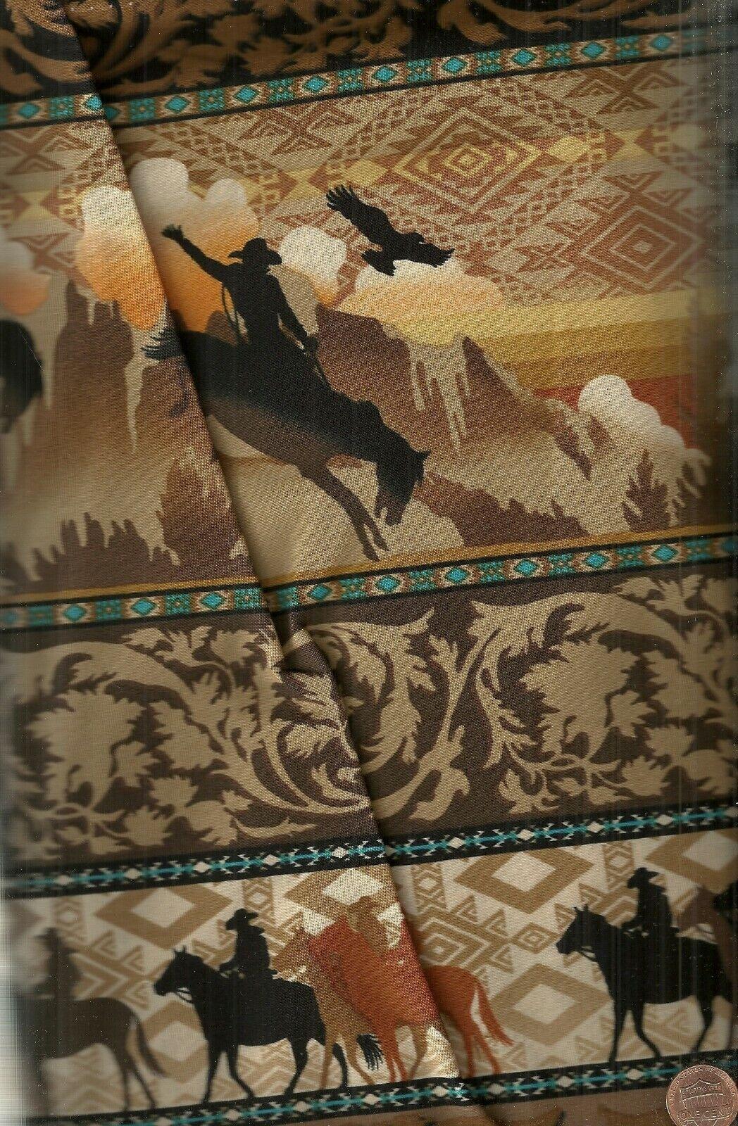 Wild Wild West Cowboys Sunset Rider Stripe Brown Western Fabric - $10.99
