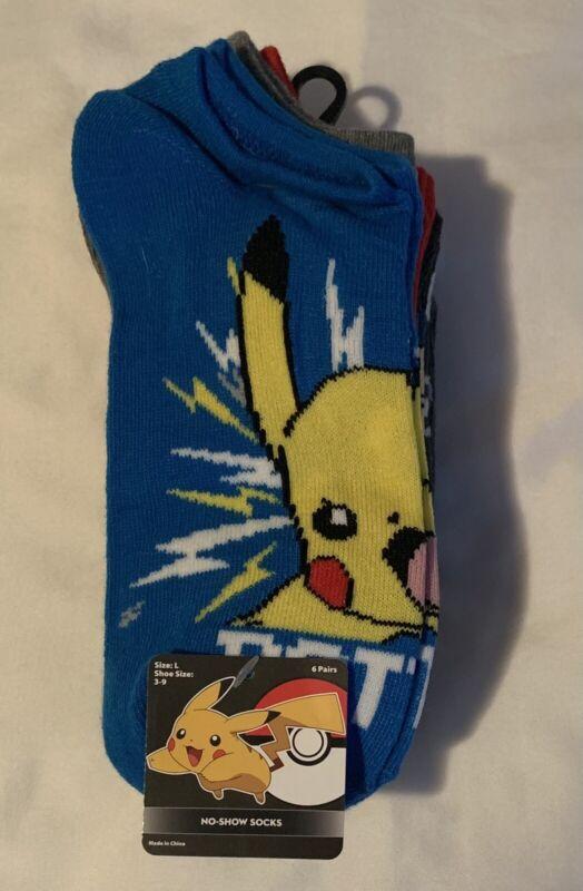 Pokémon No Show Socks Pack Of 6 Kids Youth Size Large 3-9 Pikachu Pokeball