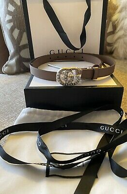 GUCCI Leather Belt with Pearl Double G Buckle .Light Pink . Sz 85.