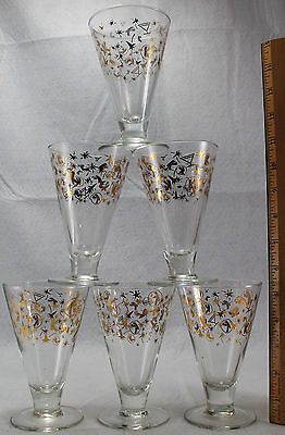 Kahlua Celebration Party Glasses Lot of 6 Footed Rocket Star Cake New Years