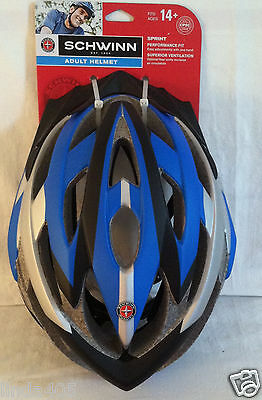 SCHWINN ADULT 14+ SPRINT BICYCLE HELMET PERFORMANCE FIT BLUE GREY SW77028-2 NEW