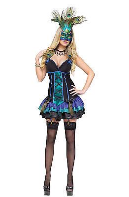 FANTASY MIDNIGHT PEACOCK MASQUERADE ADULT HALLOWEEN COSTUME SIZE X-SMALL](Peacock Halloween Costume Mask)