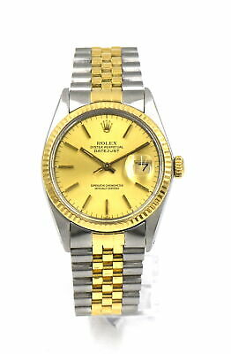 VINTAGE ROLEX DATEJUST 16013 WRISTWATCH 18K YELLOW GOLD STAINLESS BOX PAPERS