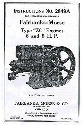 Fairbanks Morse Type Z Zc 6 8hp Gas Engine Book Manual Hit Miss 2849a Motor Oil