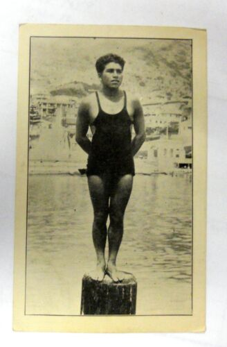 Vintage Very Rare All Original Deep Sea Diver From Catalina Island Calf Postcard