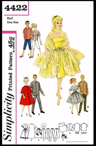 TEEN DOLL Vintage Fashion CLOTHING Simplicity 4422 Fabric Sewing Pattern