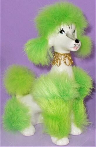 """Vintage White Poodle With Lime Green Fur Accents 7"""" Tall Gold Fringe Collar"""