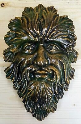 """CLEARANCE Green Man Leaf Face 13"""" Tree Man Mythical wall Sculpture"""