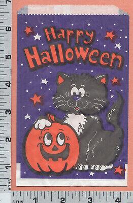 B733 Halloween trick or treat bag black cat & pumpkin Fun World, Carle Place, NY