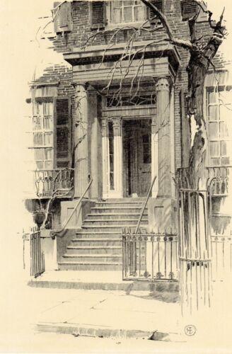 Antique Print of a Doorway, Washington Square North, New York , NY  1922 Eggers