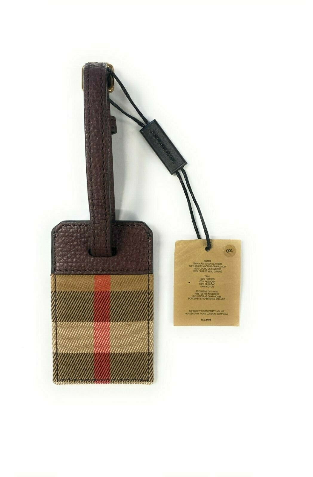 Burberry Leather Luggage Tag 100 Calf Grain Leather Burberry Horseferry House - $100.00