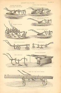 1874-PRINT-AGRICULTURE-COLEMANS-CULTIVATOR-FURROW-PLOUGH-HORSE-HOE-SOWING-etc