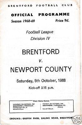 BRENTFORD V NEWPORT COUNTY       4TH DIVISION   5/10/68