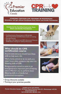 CPR,  AED,  FIRST AID  & BLS  TRAINING NOW IN MISSISSAUGA