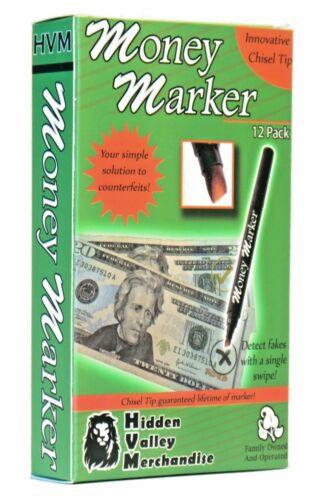 (12 Pens) Money Marker -- Counterfeit Fake Bill Detector Counterfit Dollar Pen