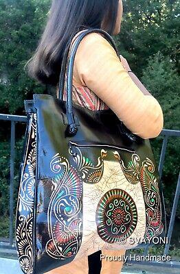 Handmade Tooled Painted Shantiniketan Pure LEATHER INDIA Handbag Purse Goat Skin