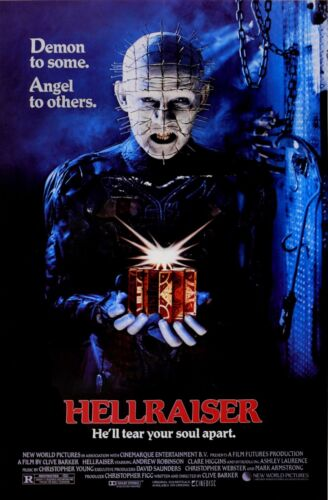 """HELLRAISER Movie Poster Horror """"Demons to Some, Angels to Others"""" with Credits"""