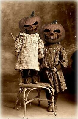 Antique Halloween Children Photo 784 Bizarre Odd Strange  - Antique Halloween Photos