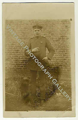 Military Real Photo Postcard RPPC German WWI Soldier With Dog
