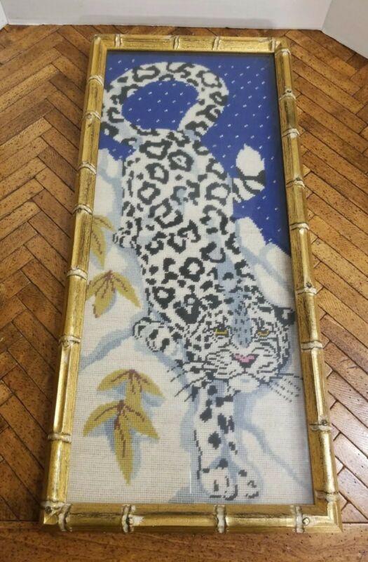 Vintage Bamboo Art MCM Frame Gold Hollywood Regency Needlepoint Cross Stitch Art