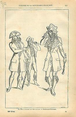 Costume Homme Incroyables Mode de la Révolution GRAVURE ANTIQUE OLD PRINT 1873