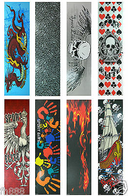"""Graphic Skateboard Grip Tape  9"""" x 33"""" Multiple Graphics to"""