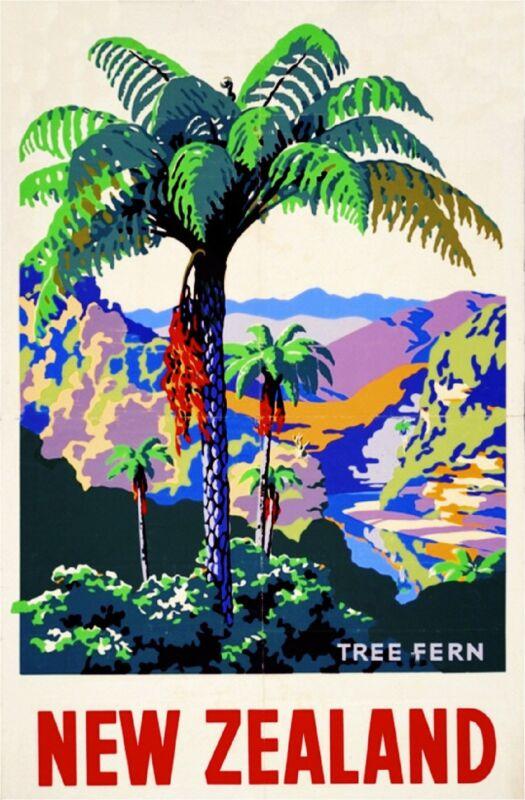1930s New Zealand Palm Tree Fern Vintage Travel Advertisement Art Poster