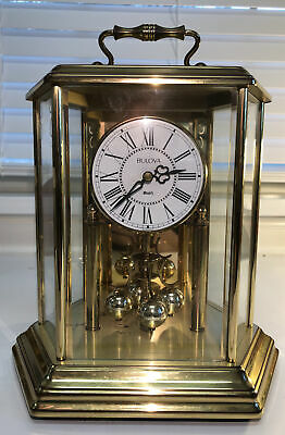 Vintage Bulova Anniversary Mantel Clock Hexagon Carriage Brass Does Not Work.