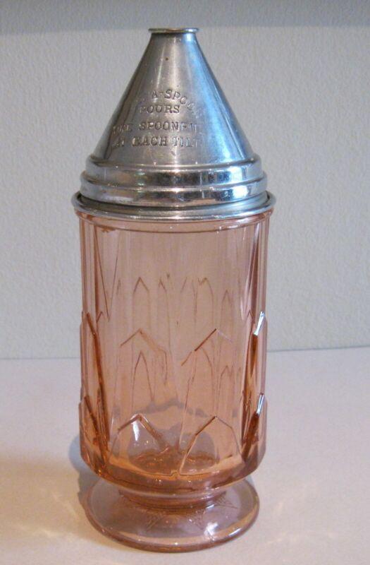 Vintage Tilt-A-Spoon Glass Sugar Dispenser - Footed Pink Depression Era Glass