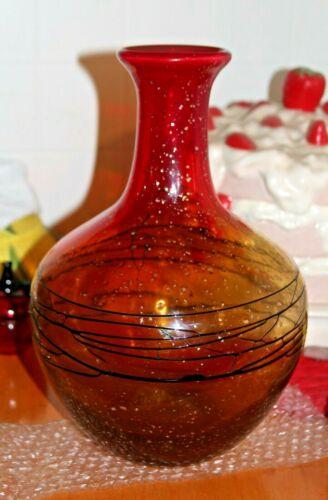 Early Antique SERGIO COSTANTINI MURANO ART GLASS VASE - Amberina -Black Threaded