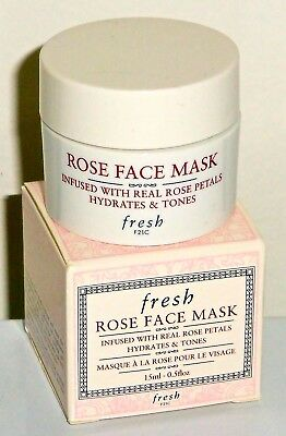 FRESH ROSE FACE MASK INFUSED WITH REAL ROSE PETALS 15 ML/0.5 OZ. NEW IN BOX MINI