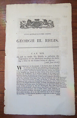 1816 GEORGE III ACT TO ENABLE THE EXPORTATION OF MACHINES FOR ERECTING US MINT