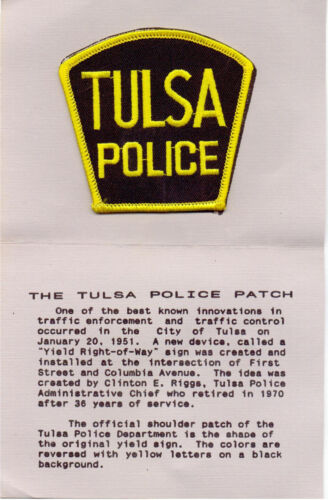 Tulsa Police (Oklahoma) shoulder patch on a Department History Card from 1980