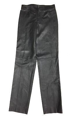 Vintage GUCCI Black Leather Straight-Leg Pants Sz42