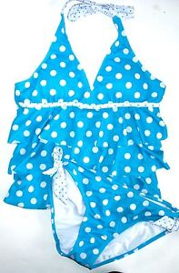 NWT NEW JUSTICE SWIM SUIT girls blue tankini polka dot 2 pc sz 16 plus 20